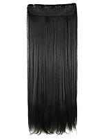 peluca negro extensión del pelo sintético del pelo recto 64cm longitud de alambre de alta temperatura