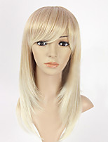 Capless Mix Color Long Length High Quality Straight Hair Synthetic Wig with Side Bang
