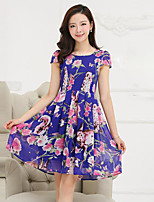 Women's Street chic Floral Plus Size / Chiffon Dress,U Neck Knee-length Polyester