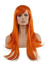 Cosplay Wig Orange Long Straight Wavy Synthetic Wig Hot Sale.