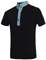Men's Fashion Personality Patchwork Slim Fit Short-Sleeve Polos, Cotton/Polyester/Patchwork