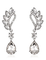 Luxury Drops Shape Cubic Zrconia Crystal Drop Earrings Jewelry for Lady(6.3*1.7cm)