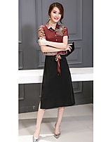 Women's Work / Plus Size Simple / Street chic A Line Dress,Animal Print Stand Midi Short Sleeve Red / Black Cotton Summer