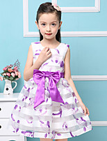 Girl's Cotton Summer Feather  organza cream Bow Princess  Jumper Skirt  Lace Dress