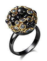 18K Gold & Black Plated Party Cocktail Rings for women Cubic Zirconia Fashion Copper rings