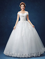 Ball Gown Wedding Dress-White Floor-length Off-the-shoulder Lace / Satin / Tulle