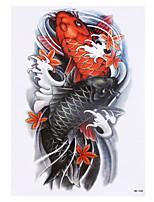 8PCS Black Vortex Fish Carp Picture Design Temporary Tattoo Sticker Waterproof Women Men Body Arm Back Art Tattoo