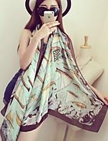 Sailing Pattern Printed  Sunscreen Scarf Scarves Satin Silk