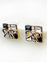 Cute Sweet Style Square Black and White Bow Lady Earrings