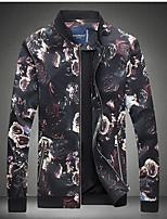 Men's Long Sleeve Casual Jacket,Polyester Print Black