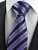 KissTies Men's Necktie Purple Black Striped Wedding/Business/Work/Formal/Casual Tie With Gift Box