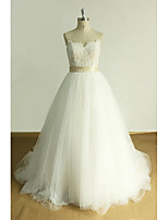 A-line Wedding Dress-Ivory Court Train Sweetheart Tulle