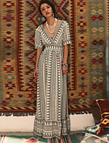 SINCE THEN Women's Sexy Print A Line Dress,V Neck Maxi Polyester