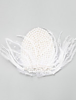 Women's / Flower Girl's Feather / Alloy / Imitation Pearl Headpiece-Wedding / Special Occasion Fascinators 1 Piece White Round