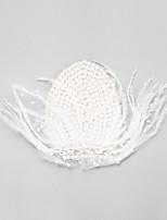 Dame / Blomsterpige Fjær / Legering / Imitert Perle Headpiece-Bryllup / Spesiell Leilighet fascinators 1 Deler Hvit Rund