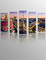 Night Landscape Paris on Canvas wood Framed 5 Panels Ready to hang for Living Decor