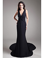 Formal Evening Dress Trumpet / Mermaid V-neck Court Train Chiffon with Beading / Tiers