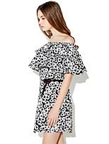 Haoduoyi® Women's Printed Off Shoulder Ruffles Short Sleeve Above Knee Dress (Black)-15151F398