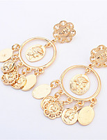 2015 High Quality Brand Head Retro Avatar Gold Earrings For Women Metal Big Circle Coin Pendant Earrings