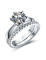 Classical Diamond Rings Set for Women 2CT Prong Engagement Ring Solitaire 0.55CT Band Infinity Silver Ring Pt950 Stamped