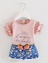 Girl's Casual/Daily Floral Clothing Set,Cotton Summer Pink / White