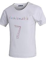 Herren T-shirt-Druck Freizeit / Büro / Formal / Sport Baumwolle Kurz-Schwarz / Weiß