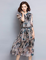 Women's Vintage Print Plus Size / Swing Dress,V Neck Midi Silk