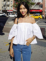 Women's Casual/Daily Sexy / Street chic Summer Blouse,Solid Boat Neck ½ Length Sleeve White / Black Cotton Thin