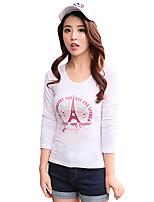 Women's Print White T-shirt,Round Neck Long Sleeve