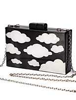 L.WEST Women's Handmade The Blue Sky White Clouds Evening Bag