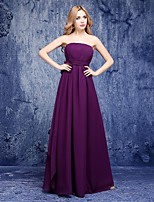 Floor-length Chiffon Bridesmaid Dress A-line Strapless with