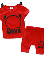 2016 New Summer Girls Clothes Casual Short Sleeve Cartoon Little Devil Tee + Shorts Boys Clothing Sets