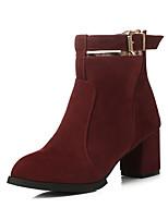 Chaussures Femme-Habillé-Noir / Marron / Rouge / Bordeaux-Gros Talon-Bout Arrondi / Bottes à la Mode-Bottes-Similicuir