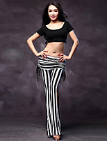Belly Dance Dress Women's Performance Cotton / Modal 2 Pieces Tops Pants Black / White / Zebra Colors