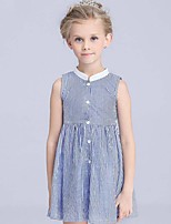 Girl's Striped Dress,Cotton Summer Blue