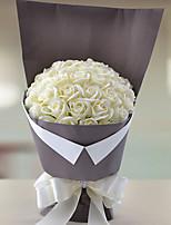 Bouquets de Noiva Forma-Livre Rosas Buquês Casamento / Festa / noite Branco Elastano / Papél 9.06