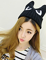 Fashion Wool Eyes Decorated Female Knitted Warm Ear Protection Cap