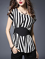 Women's Casual/Daily Street chic / Punk & Gothic Summer Blouse,Striped Round Neck Short Sleeve Black Polyester Thin