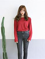 Tee-shirt Aux femmes,Rayé Sortie Chic de Rue Manches Longues Col Roulé Rouge Coton Moyen