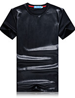 Men's Patchwork Casual / Sport T-Shirt,PU / Cotton Short Sleeve-Black