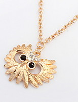2016 New Trendy Chubby Owl Necklace Fashion Rhinestone Opal Jewelry Statement Women Necklace Long Chain