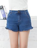 De las mujeres Pantalones Vaquero-Simple Microelástico-Poliéster