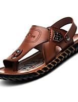 Sapatos Masculinos-Sandálias-Marrom-Napa Leather-Ar-Livre / Escritório & Trabalho / Social / Casual / Para Esporte