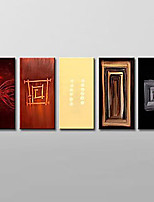 Hand Painted Abstract Oil Painting Home Wall Art with Stretched Frame Set of 5