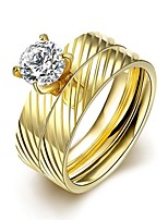 lureme® Golden Plated Stainless Steel Slashes with Big Zircon Polished Ring