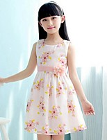 Girl's Floral Dress,Rayon Summer Blue / Pink