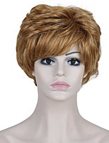 Heat Resistant Cheap Fake Hair Wig Short Light Brown Synthetic Wigs for Women