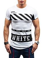 Men's Fashion Stripe Letter Print Round Collar Slim Fit Short Sleeve T-Shirt, Cotton/Polyester/Casual /Print