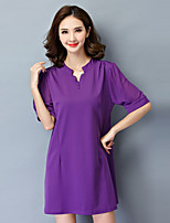Women's Simple / Street chic Solid Plus Size / Loose Dress,V Neck Mini