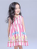 Girl's Pink Dress,Striped Cotton Summer
